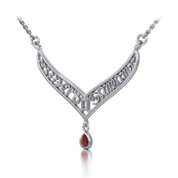 12 Zodiac Symbols Silver Necklace with Teardrop Garnet Birthstone