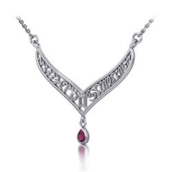 12 Zodiac Symbols Silver Necklace with Teardrop Ruby Birthstone