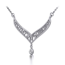 12 Zodiac Symbols Silver Necklace with Teardrop White Cubic Zirconia Birthstone