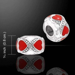 Double Heart Enameled Cylinder Sterling Silver Story Bead LABEShops Home Decor, Fashion and Jewelry