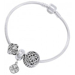 Celtic Knot Sterling Silver Bead Bracelet LABEShops Home Decor, Fashion and Jewelry
