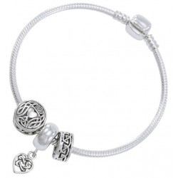 Celtic Heart Sterling Silver Bead Bracelet LABEShops Home Decor, Fashion and Jewelry