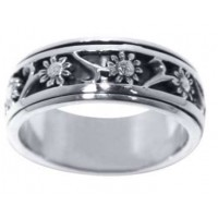 Flower Sterling Silver Fidget Spinner Ring