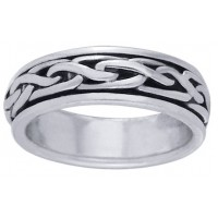 Celtic Knot Narrow Sterling Silver Fidget Spinner Ring