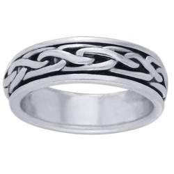 Celtic Knot Narrow Sterling Silver Fidget Spinner Ring LABEShops Home Decor, Fashion and Jewelry