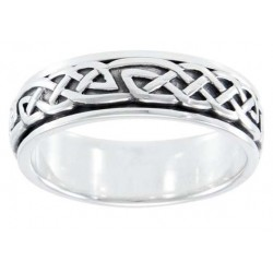 Celtic Knot Woven Sterling Silver Fidget Spinner Ring LABEShops Home Decor, Fashion and Jewelry