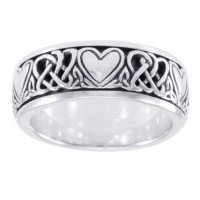 Celtic Hearts Sterling Silver Fidget Spinner Ring