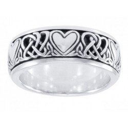Celtic Hearts Sterling Silver Fidget Spinner Ring LABEShops Home Decor, Fashion and Jewelry