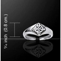Celtic Four Point Quaternary Knot Silver Toe Ring