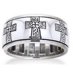 Celtic Cross Sterling Silver Fidget Spinner Ring LABEShops Home Decor, Fashion and Jewelry