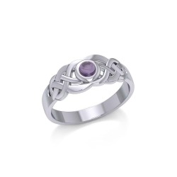 Celtic Knotwork Ring with Amethyst Gemstone