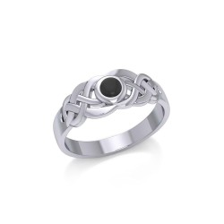 Celtic Knotwork Ring with Black Onyx Gemstone