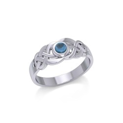Celtic Knotwork Ring with Blue Topaz Gemstone
