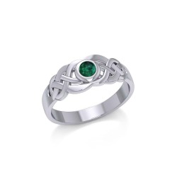 Celtic Knotwork Ring with Emerald Gemstone