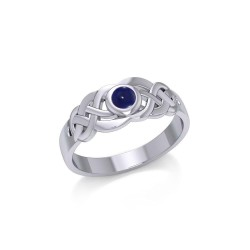 Celtic Knotwork Ring with Lapis Gemstone
