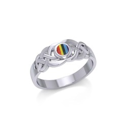 Celtic Knotwork Ring with Rainbow Inlaid Gemstone