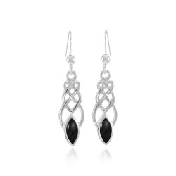 Celtic Knotwork Silver Earrings with Black Onyx Gems