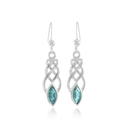 Celtic Knotwork Silver Earrings with Blue Topaz Gems