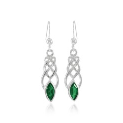 Celtic Knotwork Silver Earrings with Emerald Gems