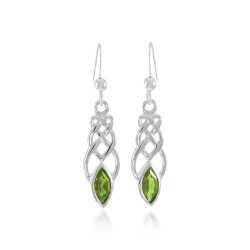 Celtic Knotwork Silver Earrings with Peridot Gems