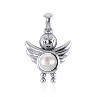 Little Angel Boy Mother of Pearl Birthstone Pendant