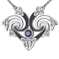 Silver Triquetra Necklace with Amethyst Gemstone