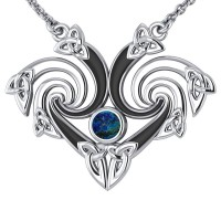 Silver Triquetra Necklace with Azurite Gemstone
