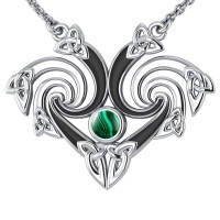 Silver Triquetra Necklace with Malachite Gemstone