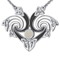 Silver Triquetra Necklace with Mother of Pearl Gemstone
