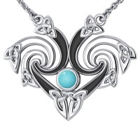 Silver Triquetra Necklace with Turquoise Gemstone