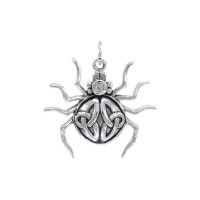 Spider with Triquetra Silver Charm