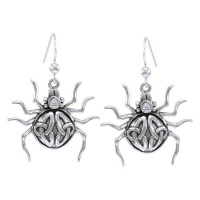 Spider with Triquetra Silver Earrings