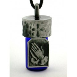 Praying Hands Pewter Bottle Necklace LABEShops Home Decor, Fashion and Jewelry
