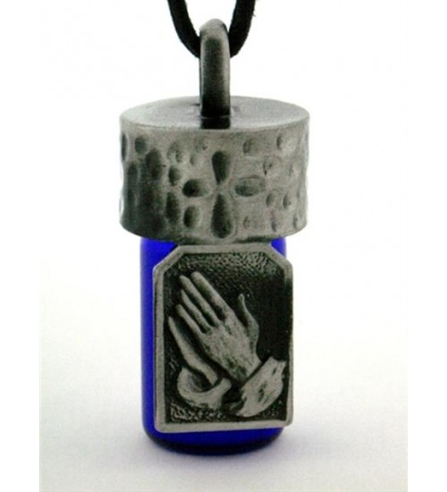 Praying Hands Pewter Bottle Necklace at LABEShops, Home Decor, Fashion and Jewelry