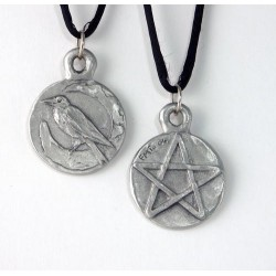 Raven Pentacle Double Sided Pewter Necklace LABEShops Home Decor, Fashion and Jewelry