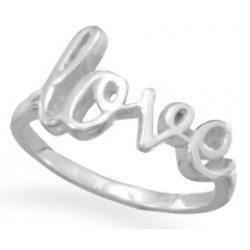 Love Script Sterling Silver Ring LABEShops Home Decor, Fashion and Jewelry