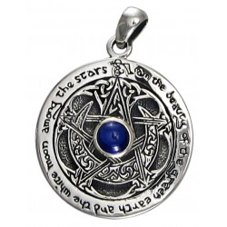 Blue Sapphire Moon Pentacle Sterling Silver Pendant LABEShops Home Decor, Fashion and Jewelry