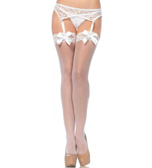 Satin Bow Lace Top Thigh High Garter Stockings at LABEShops, Home Decor, Fashion and Jewelry