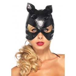 Black Faux Leather Cat Mask