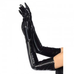 Black Wet Look Lycra Zipper Opera Gloves LABEShops Home Decor, Fashion and Jewelry