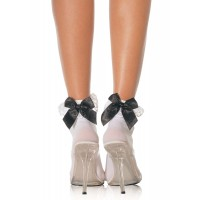 Bow and Lace Ruffle Trimmed Anklet Socks