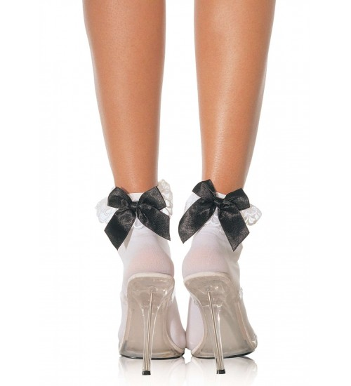 Bow and Lace Ruffle Trimmed Anklet Socks at LABEShops, Home Decor, Fashion and Jewelry