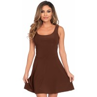 Basic Brown Womens Skater Dress