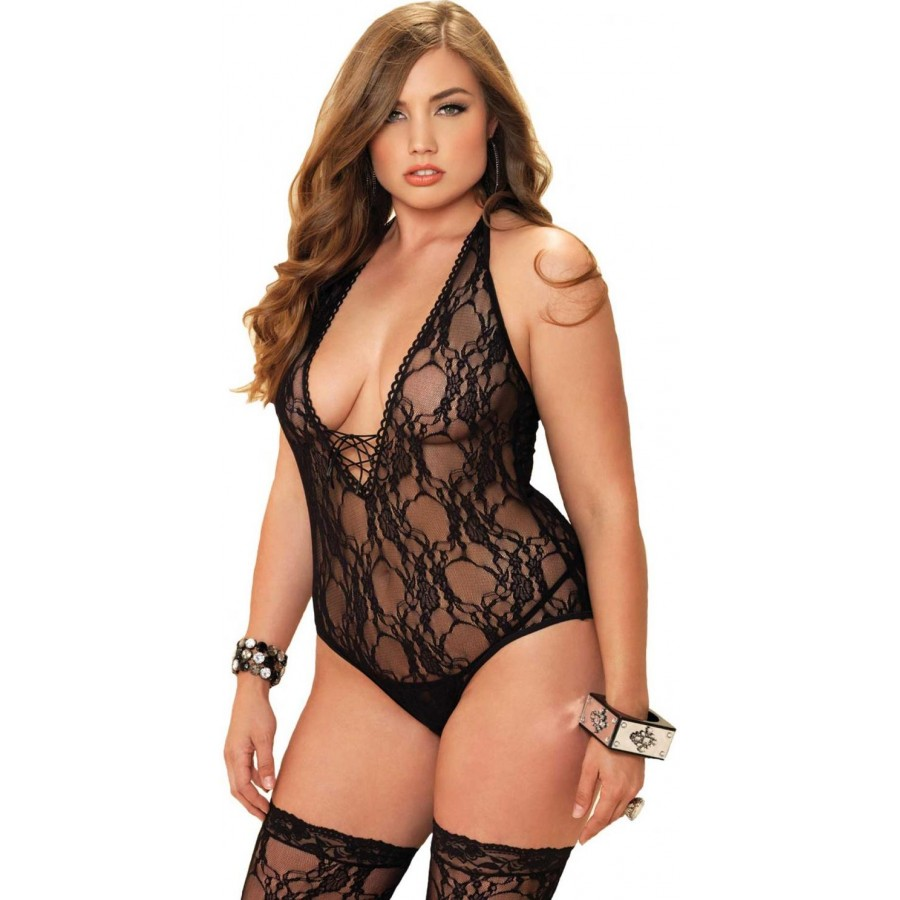 Floral Lace Plus Size Teddy and Stocking Set | Plus Size Lingerie