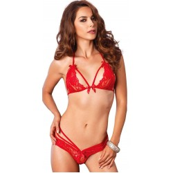 Red Lace Halter Bralette and Panty Set LABEShops Home Decor, Fashion and Jewelry