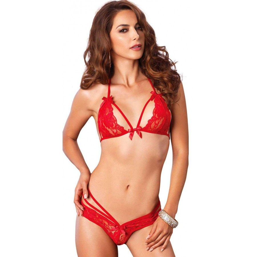 Lace Halter Bralette and Panty Set in 3 Hot Colors  34cd8a347