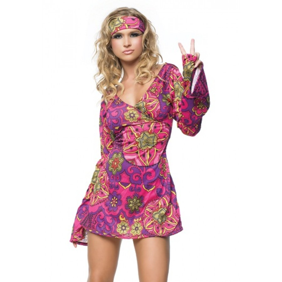 Hippie Girl Adult Womens Costume at LABEShops Home Decor Fashion and Jewelry  sc 1 st  LABEShops & Hippie Girl Adult Womens Costume | Hippie Girl Costume 60s Gogo Dancer