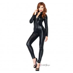 Zipper Front Black Lame Catsuit LABEShops Home Decor, Fashion and Jewelry Direct to You