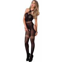 Twisted Strap Opaque Black Bodystocking
