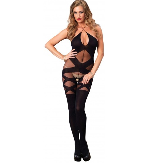 Illusion Halter Opaque Black Bodystocking at LABEShops, Home Decor, Fashion and Jewelry